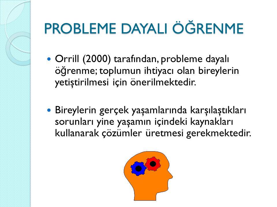 Orrill (2000) tarafından, probleme dayalı ö ğ renme; toplumun ihtiyacı olan bireylerin yetiştirilmesi için önerilmektedir. Bireylerin gerçek yaşamları
