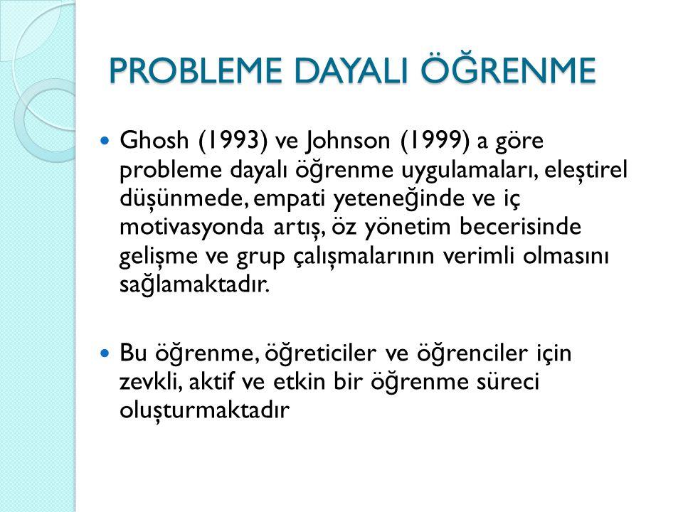 Ghosh (1993) ve Johnson (1999) a göre probleme dayalı ö ğ renme uygulamaları, eleştirel düşünmede, empati yetene ğ inde ve iç motivasyonda artış, öz y
