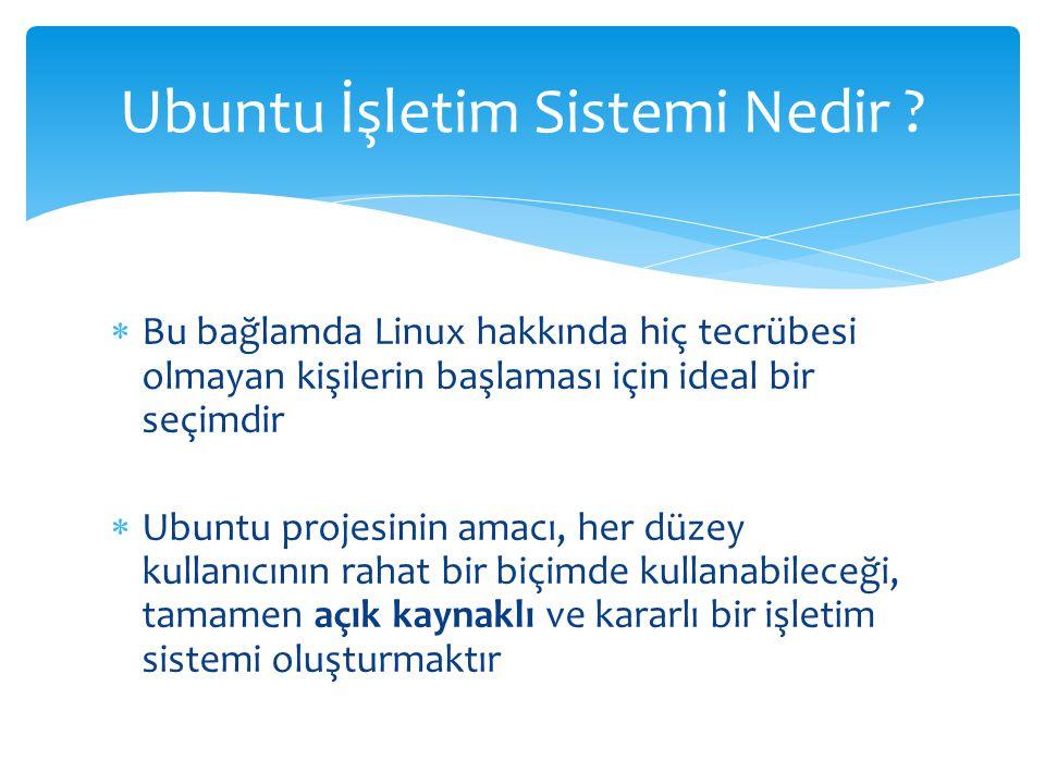Ubuntu, temel masaüstü kullanıcılarını hedefleyen bir işletim sistemi olması itibarıyla kurulum kolaylığına ayrıca önem vermektedir Kurulum sırasında ihtiyaç duyulacak olan sabit disk yapısı, saat gurubu, kullanıcı adı ve şifresi gibi gerekli bilgileri kuruluma başlamadan önce girmenizi ister Ubuntu İşletim Sistemi Kurulum Biçimi