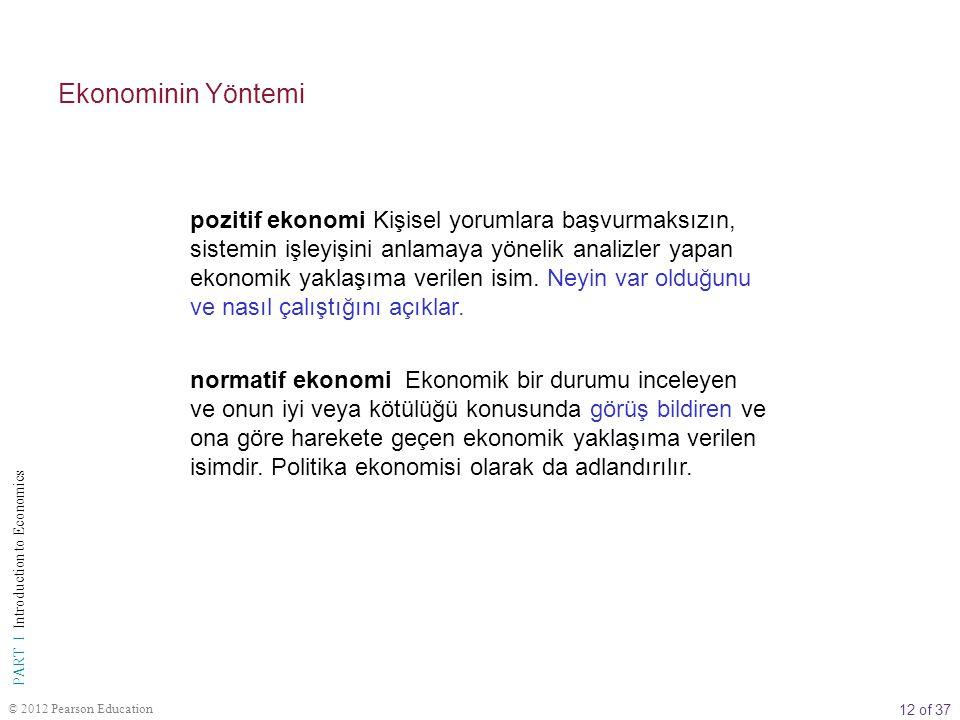 12 of 37 PART I Introduction to Economics © 2012 Pearson Education Ekonominin Yöntemi pozitif ekonomi Kişisel yorumlara başvurmaksızın, sistemin işleyişini anlamaya yönelik analizler yapan ekonomik yaklaşıma verilen isim.