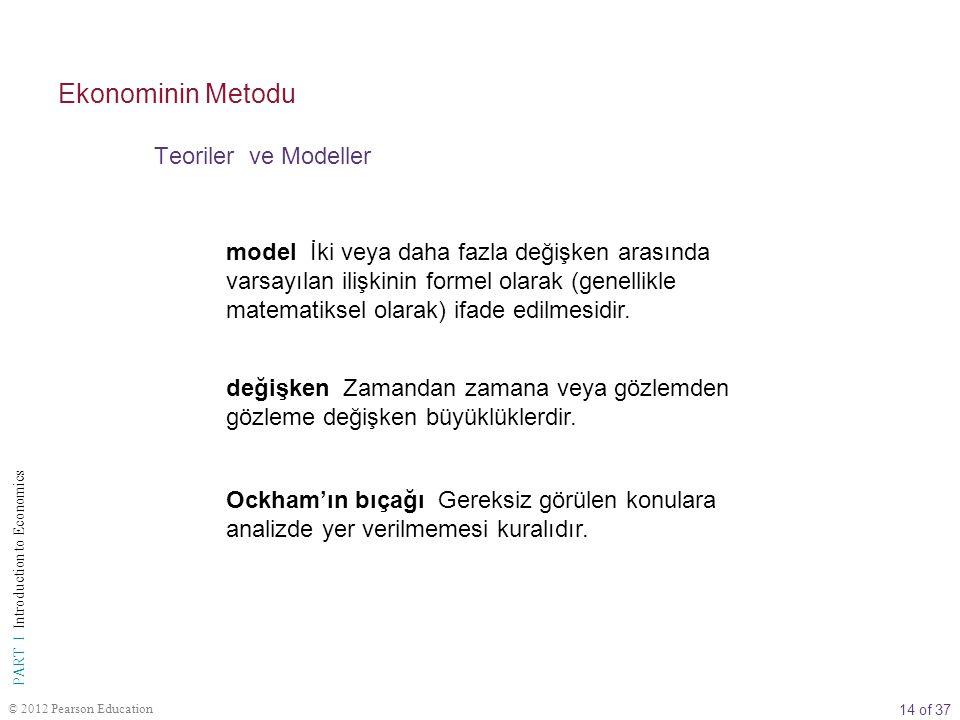 14 of 37 PART I Introduction to Economics © 2012 Pearson Education Teoriler ve Modeller Ekonominin Metodu model İki veya daha fazla değişken arasında varsayılan ilişkinin formel olarak (genellikle matematiksel olarak) ifade edilmesidir.