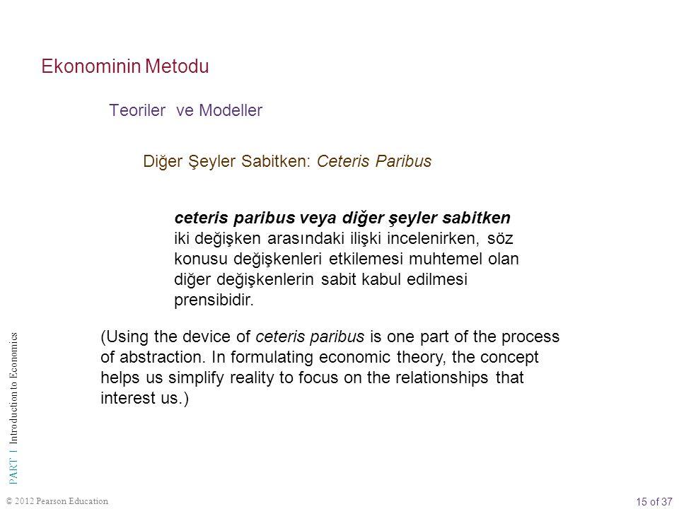 15 of 37 PART I Introduction to Economics © 2012 Pearson Education Diğer Şeyler Sabitken: Ceteris Paribus ceteris paribus veya diğer şeyler sabitken iki değişken arasındaki ilişki incelenirken, söz konusu değişkenleri etkilemesi muhtemel olan diğer değişkenlerin sabit kabul edilmesi prensibidir.