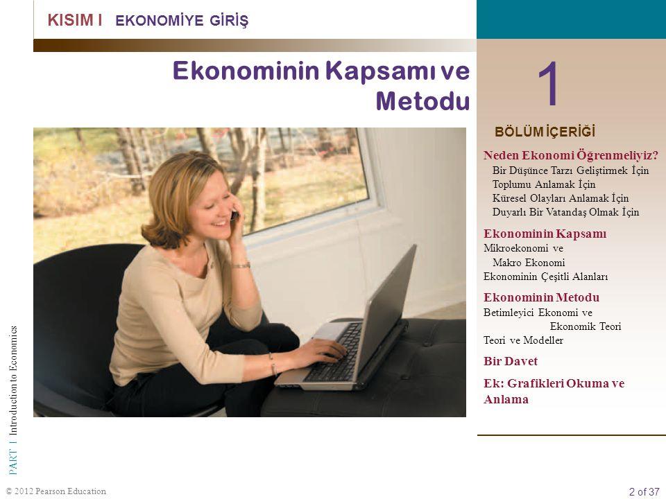 2 of 37 PART I Introduction to Economics © 2012 Pearson Education 1 KISIM I EKONOMİYE GİRİŞ Ekonominin Kapsamı ve Metodu BÖLÜM İÇERİĞİ Neden Ekonomi Öğrenmeliyiz.