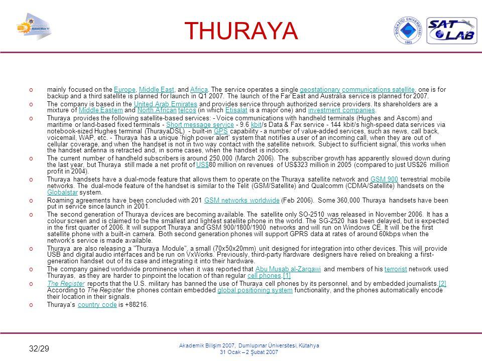 32/29 Akademik Bilişim 2007, Dumlupınar Üniversitesi, Kütahya 31 Ocak – 2 Şubat 2007 THURAYA omainly focused on the Europe, Middle East, and Africa. T
