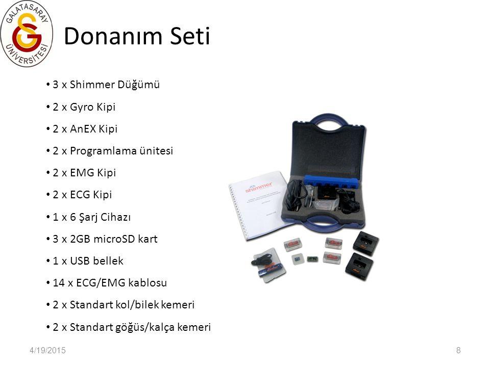 Donanım Seti 4/19/20158 3 x Shimmer Düğümü 2 x Gyro Kipi 2 x AnEX Kipi 2 x Programlama ünitesi 2 x EMG Kipi 2 x ECG Kipi 1 x 6 Şarj Cihazı 3 x 2GB mic