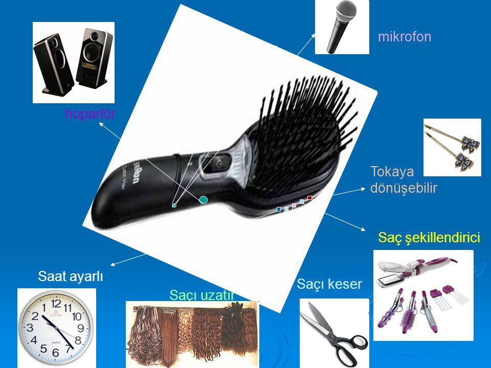 Tokaya dönüşebilir Saç şekillendirici Saçı keser Saçı uzatır Saat ayarlı hoparlör mikrofon