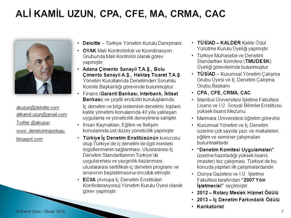 Ali Kamil Uzun / Nisan 201413 Mesleği Geleceğe Taşımak için ….