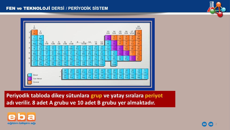 2 Periyodik tabloda dikey sütunlara grup ve yatay sıralara periyot adı verilir. 8 adet A grubu ve 10 adet B grubu yer almaktadır. FEN ve TEKNOLOJİ DER