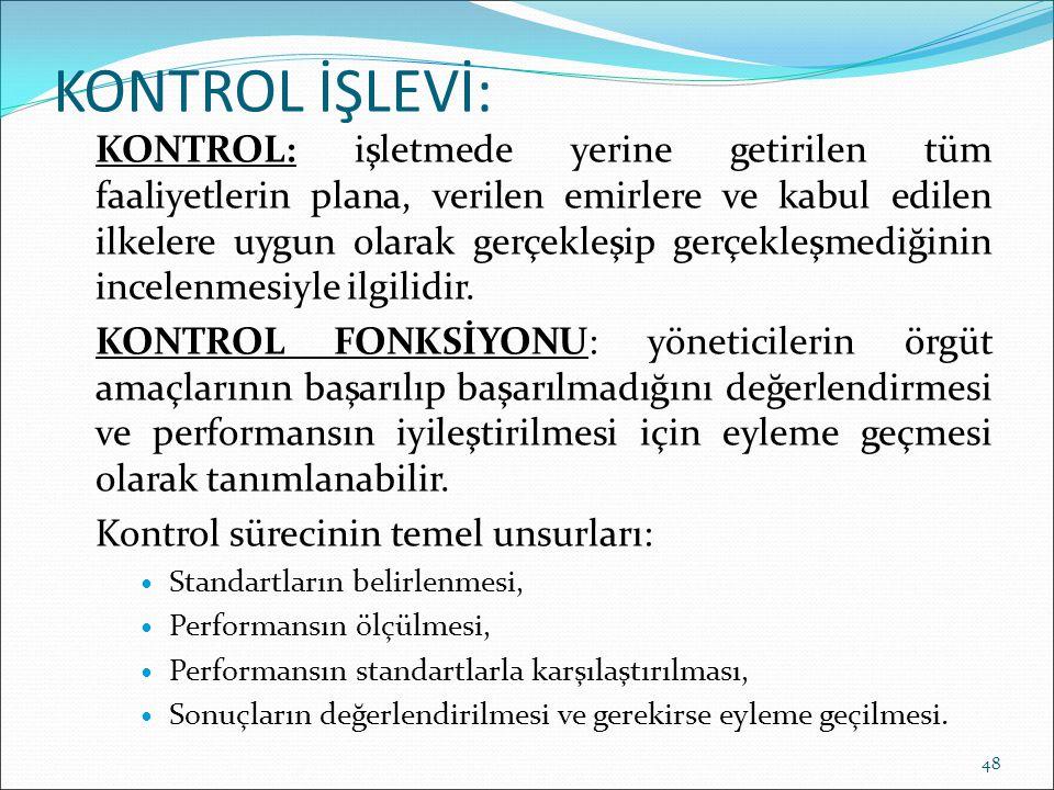 KONTROL İŞLEVİ: KONTROL: işletmede yerine getirilen tüm faaliyetlerin plana, verilen emirlere ve kabul edilen ilkelere uygun olarak gerçekleşip gerçek