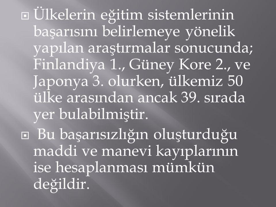  Ülkelerin eğitim sistemlerinin başarısını belirlemeye yönelik yapılan araştırmalar sonucunda; Finlandiya 1., Güney Kore 2., ve Japonya 3. olurken, ü