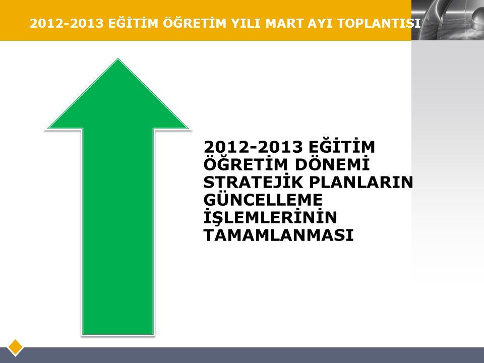 LOGO 2012-2013 EĞİTİM ÖĞRETİM YILI MART AYI TOPLANTISI 2012-2013 EĞİTİM ÖĞRETİM DÖNEMİ STRATEJİK PLANLARIN GÜNCELLEME İŞLEMLERİNİN TAMAMLANMASI