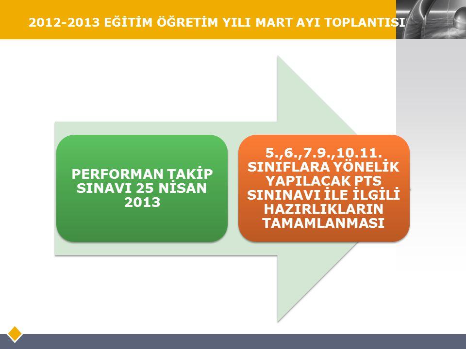 LOGO 2012-2013 EĞİTİM ÖĞRETİM YILI MART AYI TOPLANTISI PERFORMAN TAKİP SINAVI 25 NİSAN 2013 5.,6.,7.9.,10.11. SINIFLARA YÖNELİK YAPILACAK PTS SININAVI