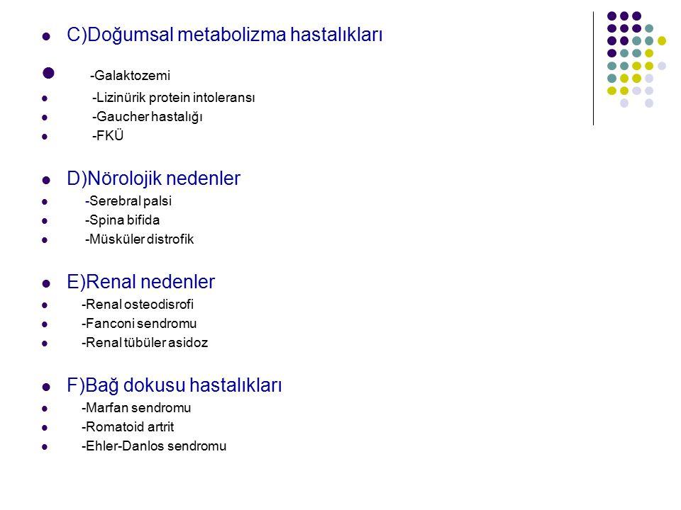 C)Doğumsal metabolizma hastalıkları -Galaktozemi -Lizinürik protein intoleransı -Gaucher hastalığı -FKÜ D)Nörolojik nedenler -Serebral palsi -Spina bi