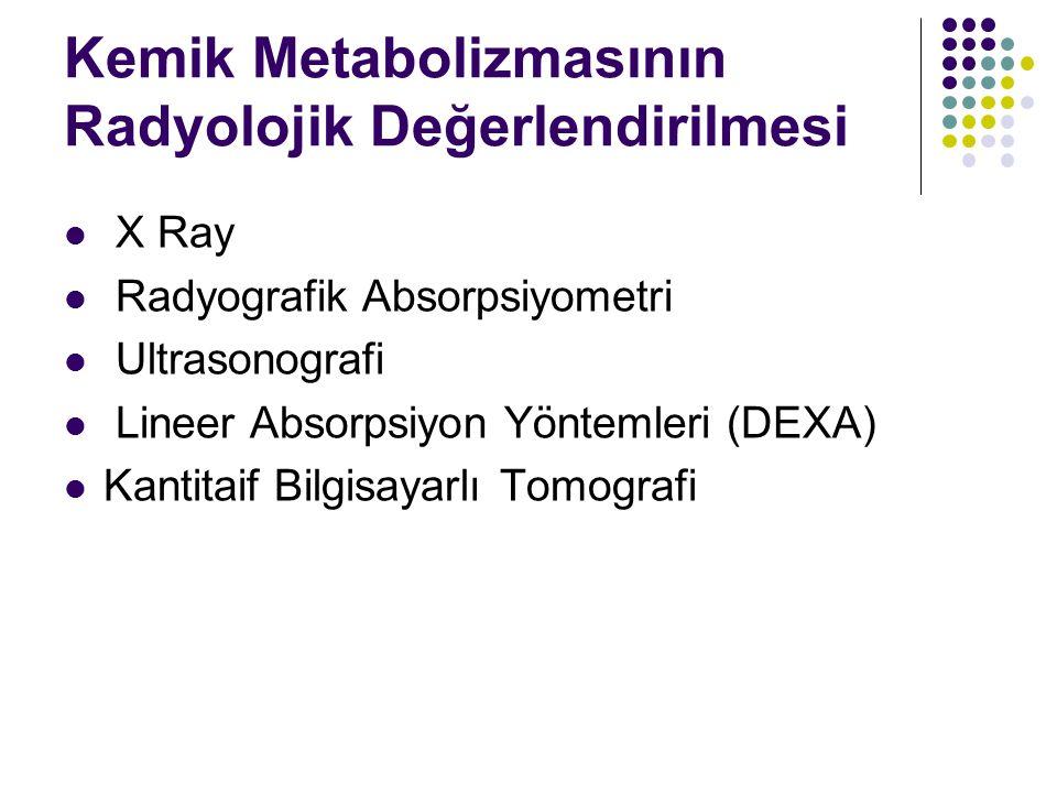 Kemik Metabolizmasının Radyolojik Değerlendirilmesi X Ray Radyografik Absorpsiyometri Ultrasonografi Lineer Absorpsiyon Yöntemleri (DEXA) Kantitaif Bi