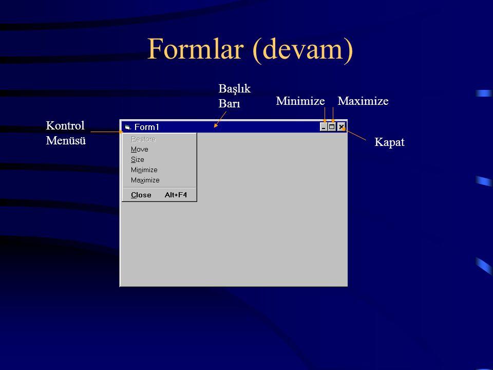Formlar (devam) Kontrol Menüsü Başlık Barı MinimizeMaximize Kapat