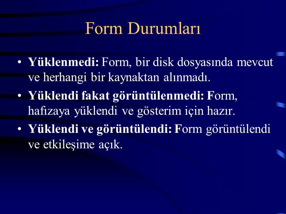Form Durumları Yüklenmedi: Form, bir disk dosyasında mevcut ve herhangi bir kaynaktan alınmadı. Yüklendi fakat görüntülenmedi: Form, hafızaya yüklendi