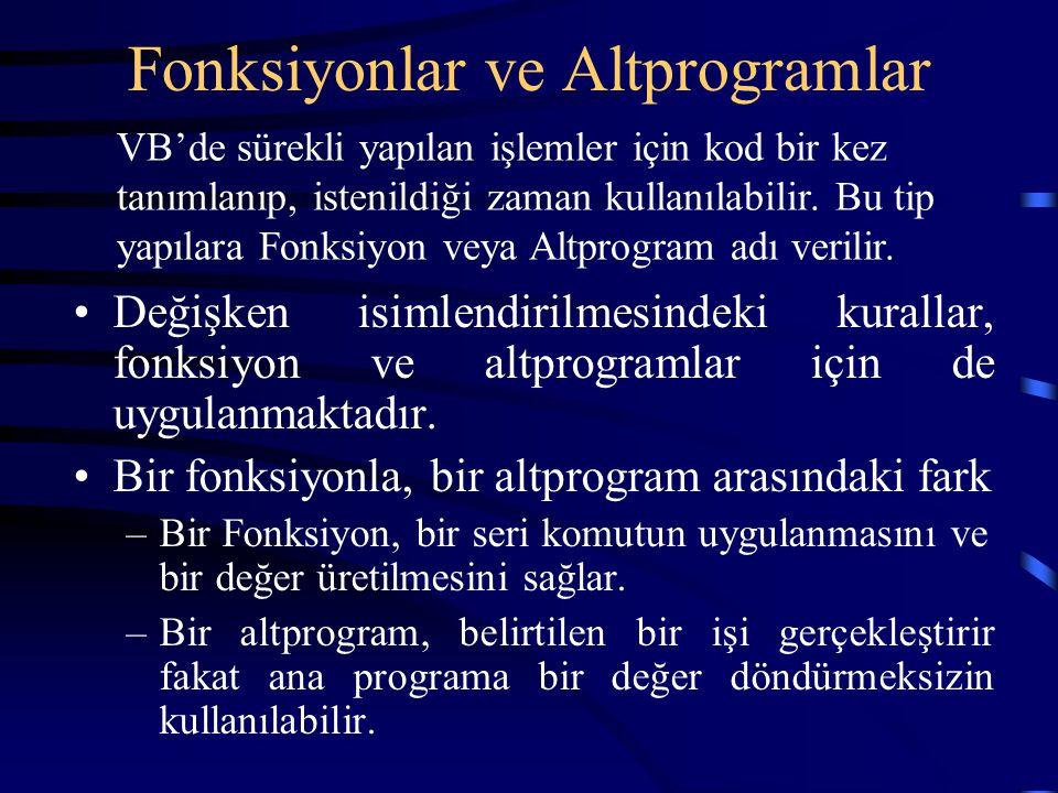 Fonksiyonlar ve Altprogramlar Değişken isimlendirilmesindeki kurallar, fonksiyon ve altprogramlar için de uygulanmaktadır. Bir fonksiyonla, bir altpro