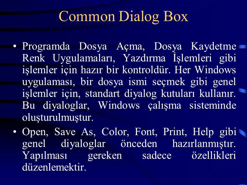 Common Dialog Box Programda Dosya Açma, Dosya Kaydetme Renk Uygulamaları, Yazdırma İşlemleri gibi işlemler için hazır bir kontroldür. Her Windows uygu