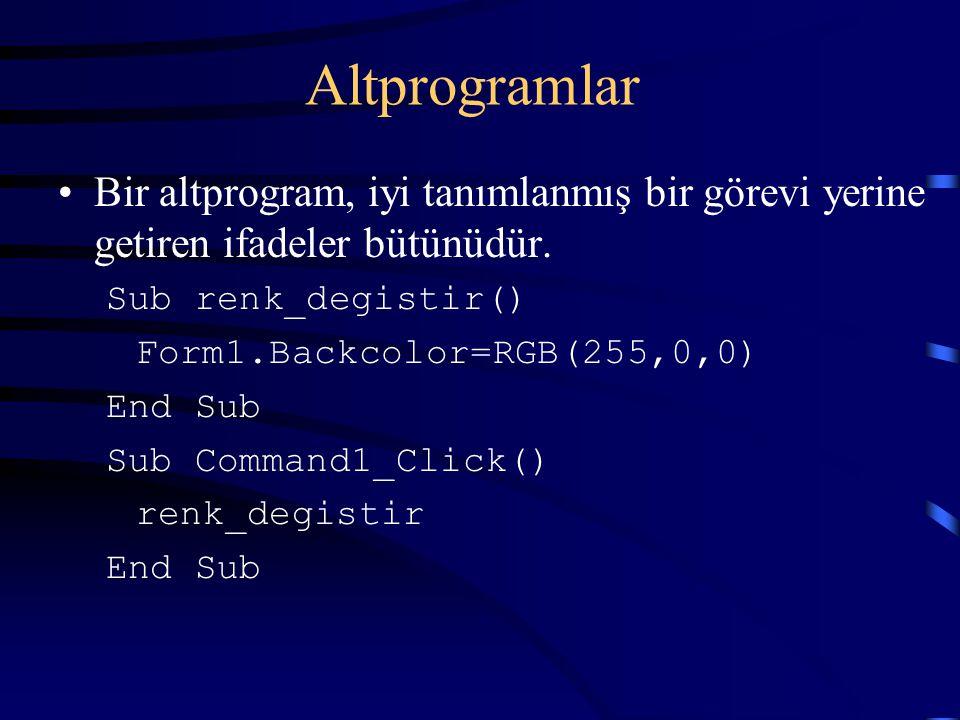 Altprogramlar Bir altprogram, iyi tanımlanmış bir görevi yerine getiren ifadeler bütünüdür. Sub renk_degistir() Form1.Backcolor=RGB(255,0,0) End Sub S