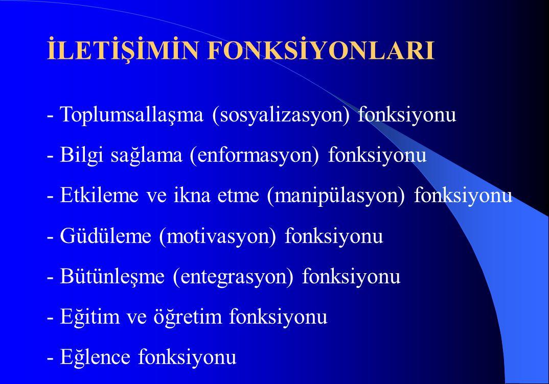 İLETİŞİMİN FONKSİYONLARI - Toplumsallaşma (sosyalizasyon) fonksiyonu - Bilgi sağlama (enformasyon) fonksiyonu - Etkileme ve ikna etme (manipülasyon) f