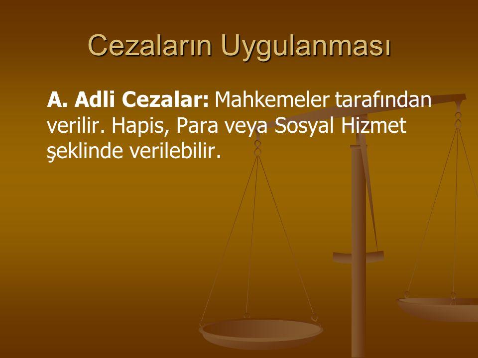 Cezaların Uygulanması A. Adli Cezalar: Mahkemeler tarafından verilir. Hapis, Para veya Sosyal Hizmet şeklinde verilebilir.