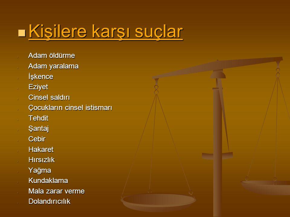 Millete ve devlete karşı suçlar Zimmet-Rüşvet Zimmet-Rüşvet Görevi kötüye kullanma Görevi kötüye kullanma Yalan tanıklık-Yalan yere yemin Yalan tanıklık-Yalan yere yemin Suçluyu kayırma Suçluyu kayırma Türklüğü, Cumhuriyeti, Devletin kurum ve organlarını aşağılama Türklüğü, Cumhuriyeti, Devletin kurum ve organlarını aşağılama Devletin birliğini ve ülke bütünlüğünü bozmak Devletin birliğini ve ülke bütünlüğünü bozmak Anayasayı ihlâl Anayasayı ihlâl Halkı askerlikten soğutma Halkı askerlikten soğutma Vatana ihanet Vatana ihanet