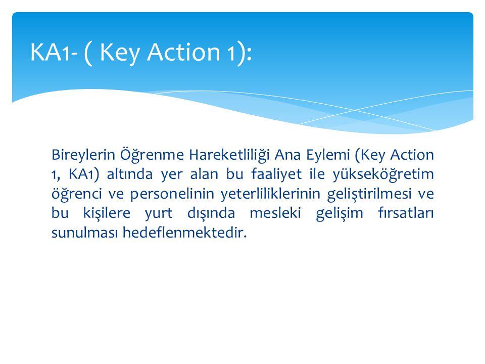 Bireylerin Öğrenme Hareketliliği Ana Eylemi (Key Action 1, KA1) altında yer alan bu faaliyet ile yükseköğretim öğrenci ve personelinin yeterliliklerinin geliştirilmesi ve bu kişilere yurt dışında mesleki gelişim fırsatları sunulması hedeflenmektedir.
