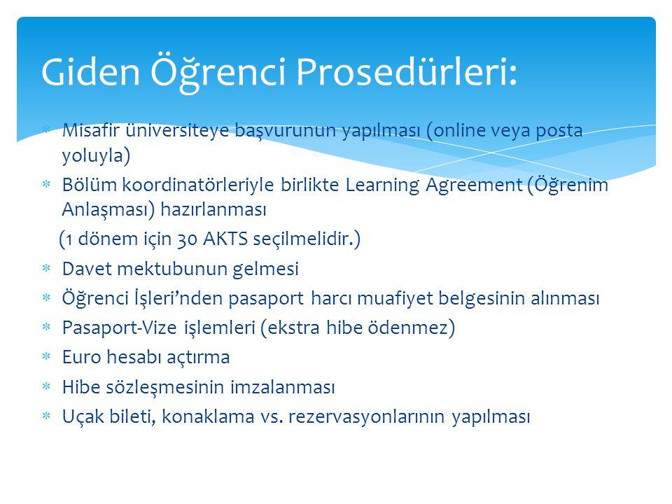  Misafir üniversiteye başvurunun yapılması (online veya posta yoluyla)  Bölüm koordinatörleriyle birlikte Learning Agreement (Öğrenim Anlaşması) hazırlanması (1 dönem için 30 AKTS seçilmelidir.)  Davet mektubunun gelmesi  Öğrenci İşleri'nden pasaport harcı muafiyet belgesinin alınması  Pasaport-Vize işlemleri (ekstra hibe ödenmez)  Euro hesabı açtırma  Hibe sözleşmesinin imzalanması  Uçak bileti, konaklama vs.