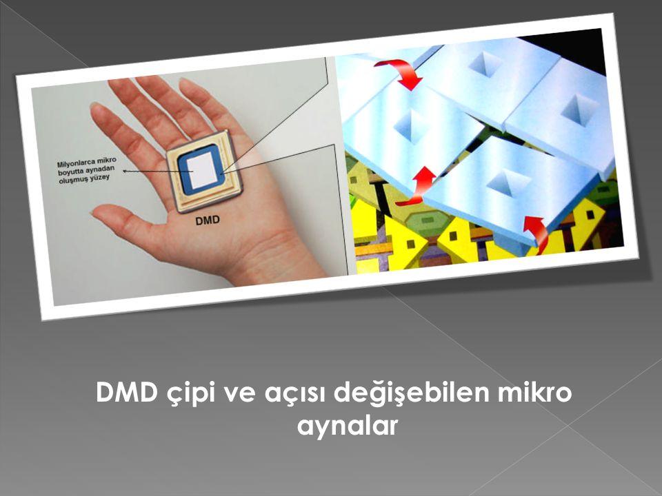 DMD çipi ve açısı değişebilen mikro aynalar