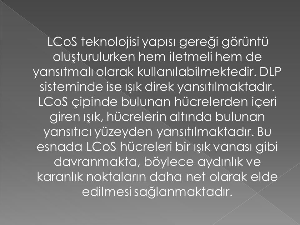 LCoS teknolojisi yapısı gereği görüntü oluşturulurken hem iletmeli hem de yansıtmalı olarak kullanılabilmektedir. DLP sisteminde ise ışık direk yansıt