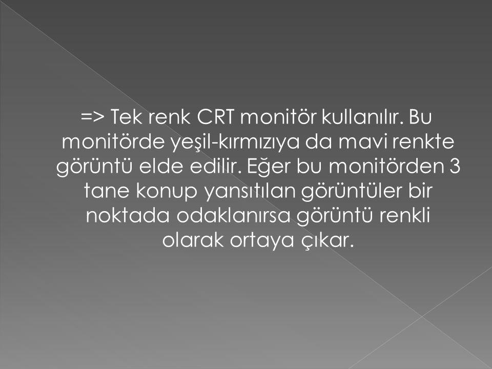 => Sadece siyah beyaz bir CRT monitör kullanılır.