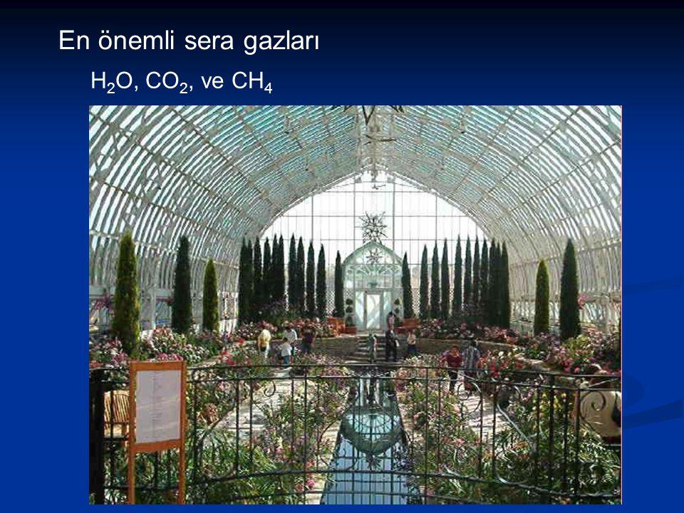 En önemli sera gazları H 2 O, CO 2, ve CH 4