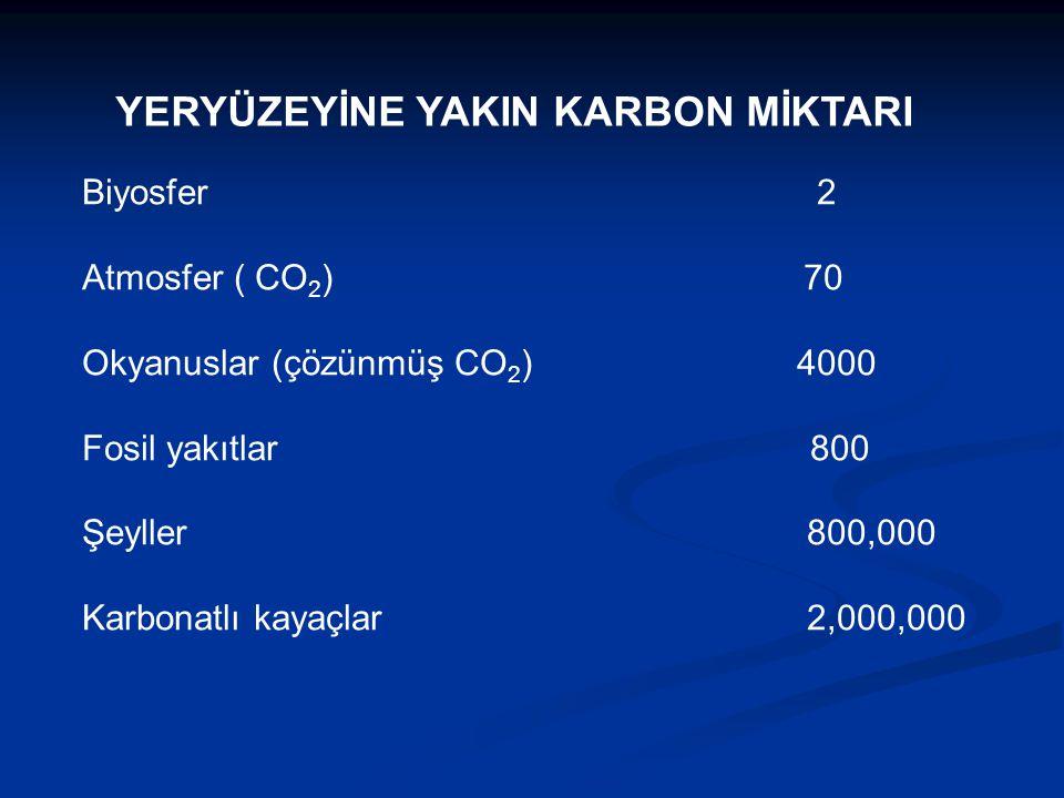 YERYÜZEYİNE YAKIN KARBON MİKTARI Biyosfer 2 Atmosfer ( CO 2 ) 70 Okyanuslar (çözünmüş CO 2 ) 4000 Fosil yakıtlar 800 Şeyller 800,000 Karbonatlı kayaçl