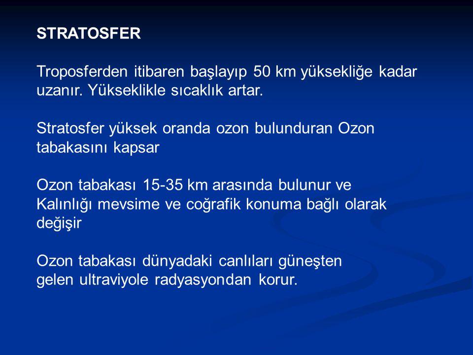 STRATOSFER Troposferden itibaren başlayıp 50 km yüksekliğe kadar uzanır. Yükseklikle sıcaklık artar. Stratosfer yüksek oranda ozon bulunduran Ozon tab