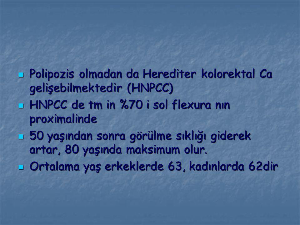 Polipozis olmadan da Herediter kolorektal Ca gelişebilmektedir (HNPCC) Polipozis olmadan da Herediter kolorektal Ca gelişebilmektedir (HNPCC) HNPCC de