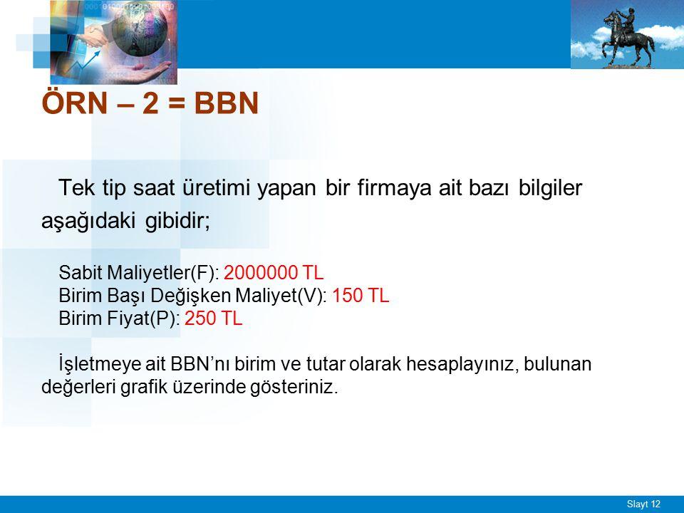 Slayt 12 ÖRN – 2 = BBN Tek tip saat üretimi yapan bir firmaya ait bazı bilgiler aşağıdaki gibidir; Sabit Maliyetler(F): 2000000 TL Birim Başı Değişken