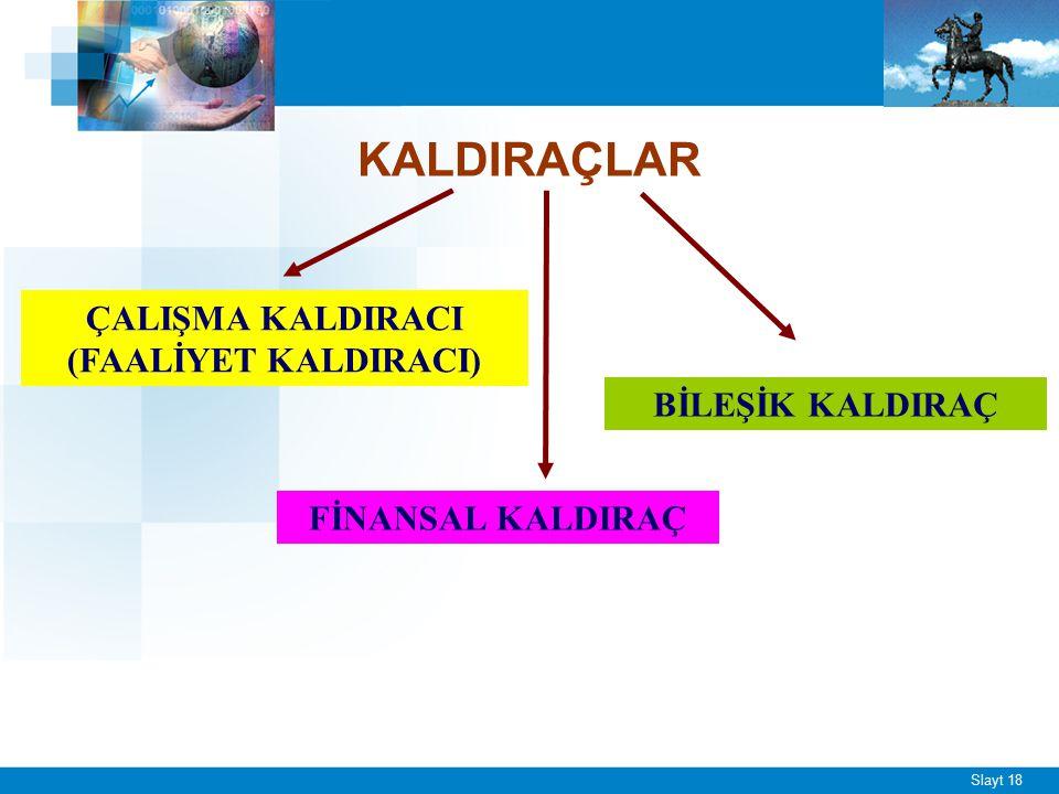 Slayt 18 KALDIRAÇLAR ÇALIŞMA KALDIRACI (FAALİYET KALDIRACI) FİNANSAL KALDIRAÇ BİLEŞİK KALDIRAÇ