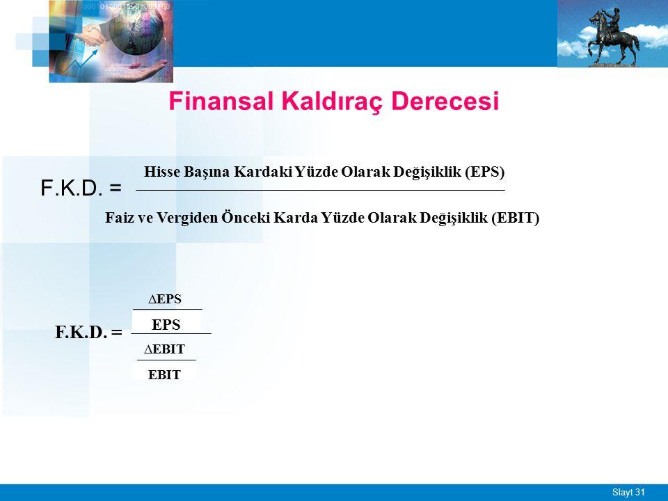 Slayt 31 F.K.D. = Finansal Kaldıraç Derecesi Hisse Başına Kardaki Yüzde Olarak Değişiklik (EPS) Faiz ve Vergiden Önceki Karda Yüzde Olarak Değişiklik