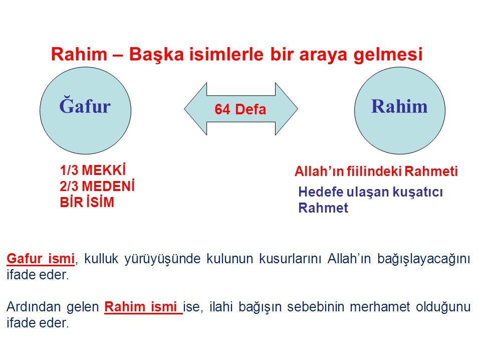 64 Defa Ğafur Rahim – Başka isimlerle bir araya gelmesi Rahim Allah'ın fiilindeki Rahmeti Hedefe ulaşan kuşatıcı Rahmet Gafur ismi, kulluk yürüyüşünde