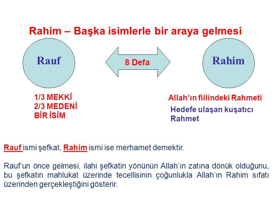 8 Defa Rauf Rahim – Başka isimlerle bir araya gelmesi Rahim Allah'ın fiilindeki Rahmeti Hedefe ulaşan kuşatıcı Rahmet Rauf ismi şefkat, Rahim ismi ise