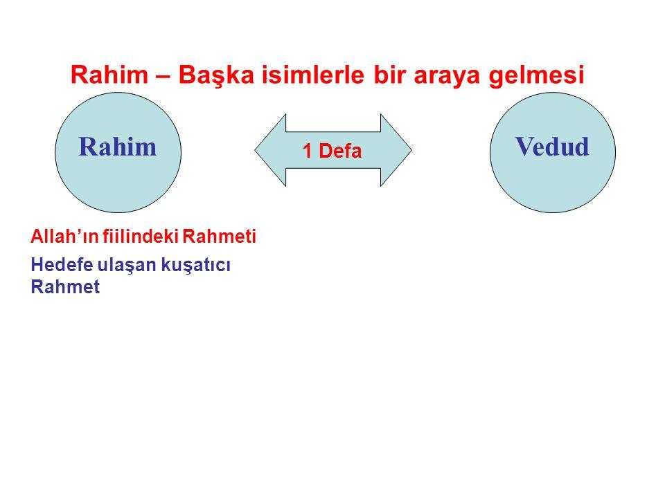 1 Defa Rahim Rahim – Başka isimlerle bir araya gelmesi Vedud Allah'ın fiilindeki Rahmeti Hedefe ulaşan kuşatıcı Rahmet
