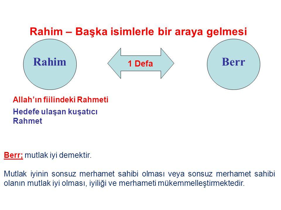 1 Defa Rahim Rahim – Başka isimlerle bir araya gelmesi Berr Allah'ın fiilindeki Rahmeti Hedefe ulaşan kuşatıcı Rahmet Berr; mutlak iyi demektir. Mutla
