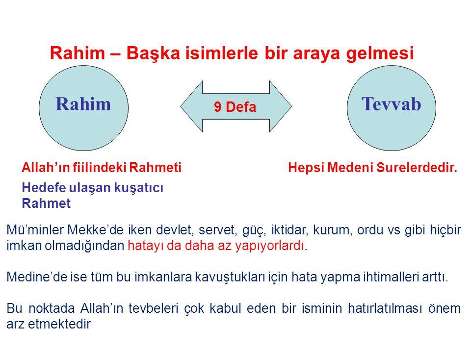 9 Defa Rahim Rahim – Başka isimlerle bir araya gelmesi Tevvab Allah'ın fiilindeki Rahmeti Hedefe ulaşan kuşatıcı Rahmet Mü'minler Mekke'de iken devlet