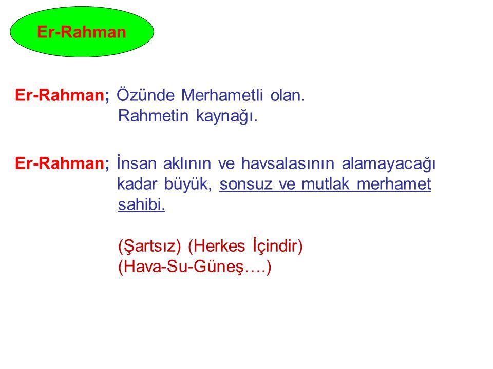 Er-Rahman Er-Rahman; Özünde Merhametli olan. Rahmetin kaynağı. Er-Rahman; İnsan aklının ve havsalasının alamayacağı kadar büyük, sonsuz ve mutlak merh