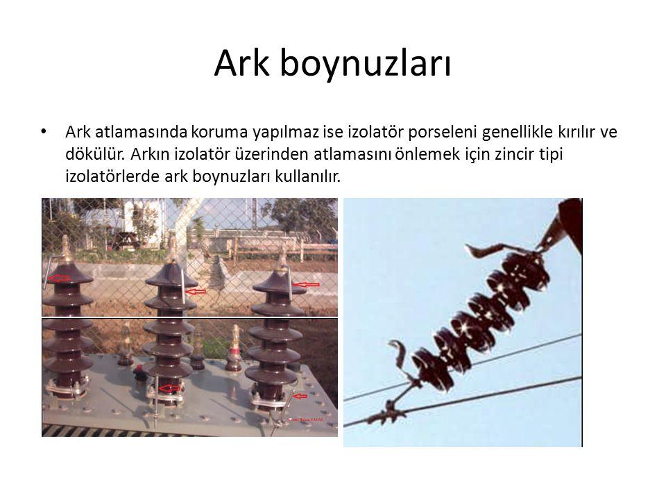 Ark boynuzları Boynuzlardan biri izolatörün üst kısmında olacak şekilde konsolda veya traverste bulunur ve toprakla irtibatlanır.