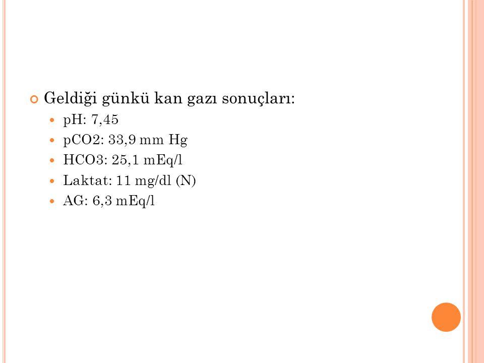 Geldiği günkü kan gazı sonuçları: pH: 7,45 pCO2: 33,9 mm Hg HCO3: 25,1 mEq/l Laktat: 11 mg/dl (N) AG: 6,3 mEq/l