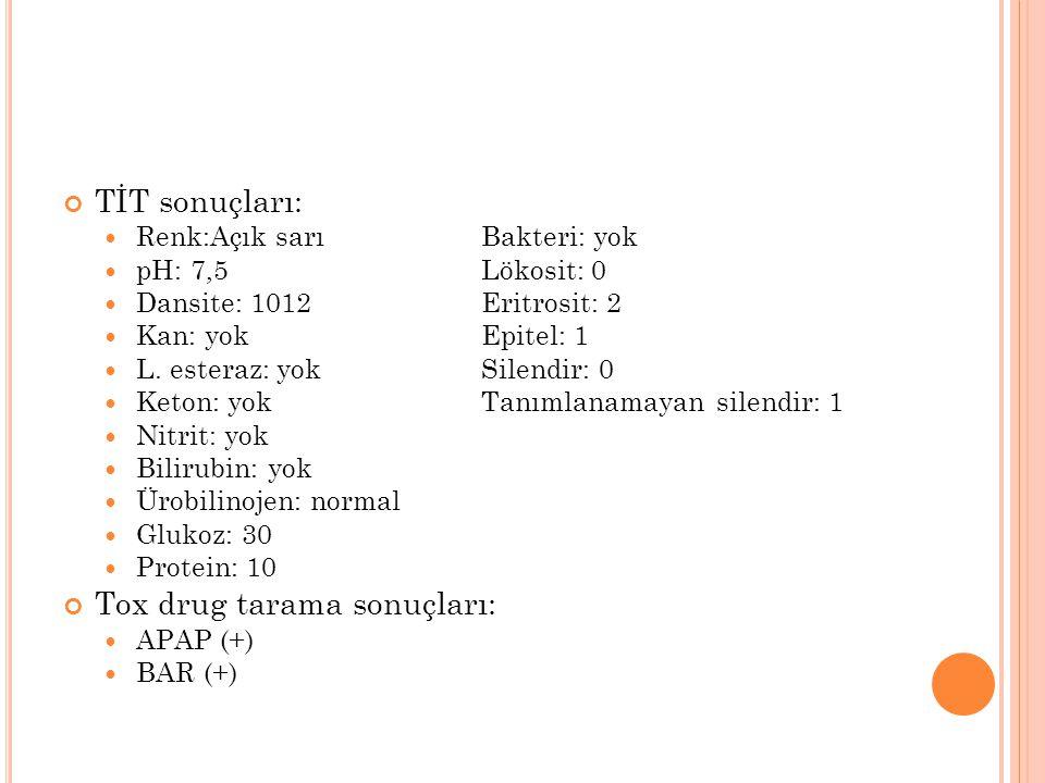 TİT sonuçları: Renk:Açık sarıBakteri: yok pH: 7,5Lökosit: 0 Dansite: 1012Eritrosit: 2 Kan: yokEpitel: 1 L. esteraz: yokSilendir: 0 Keton: yokTanımlana