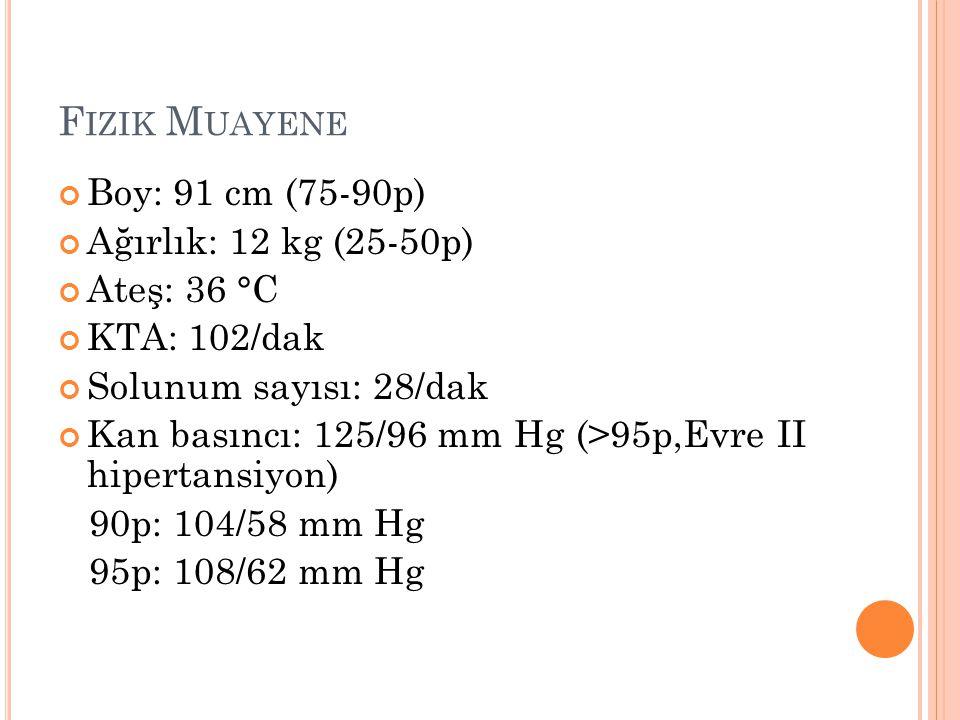 F IZIK M UAYENE Boy: 91 cm (75-90p) Ağırlık: 12 kg (25-50p) Ateş: 36 °C KTA: 102/dak Solunum sayısı: 28/dak Kan basıncı: 125/96 mm Hg (>95p,Evre II hi