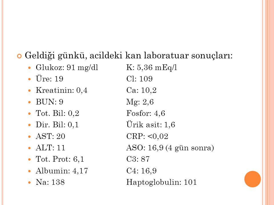 Geldiği günkü, acildeki kan laboratuar sonuçları: Glukoz: 91 mg/dlK: 5,36 mEq/l Üre: 19Cl: 109 Kreatinin: 0,4Ca: 10,2 BUN: 9Mg: 2,6 Tot. Bil: 0,2Fosfo