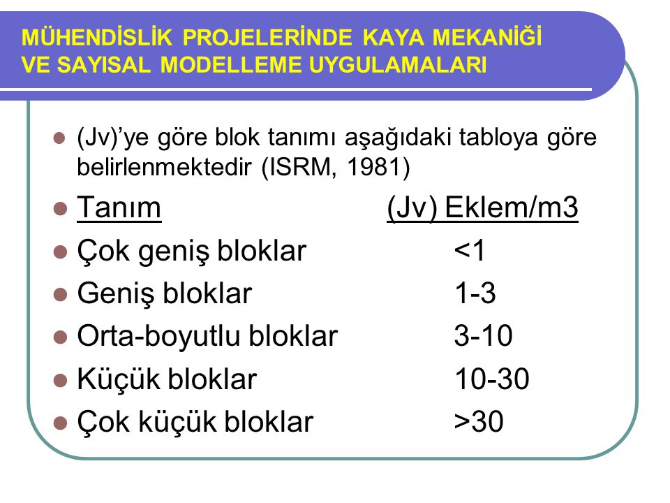 MÜHENDİSLİK PROJELERİNDE KAYA MEKANİĞİ VE SAYISAL MODELLEME UYGULAMALARI (Jv)'ye göre blok tanımı aşağıdaki tabloya göre belirlenmektedir (ISRM, 1981)